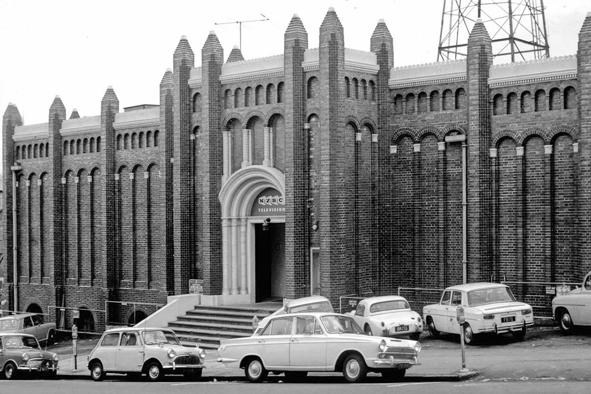Shortland Street Studios in 1968 with many period cars parked at the entrance.